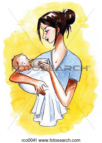 Clipart A Mother Bottle Feeding Her Infant  Fotosearch Search Clip