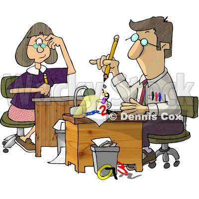 Female Accountants Working At Desks Clipart Illustration By Dennis Cox