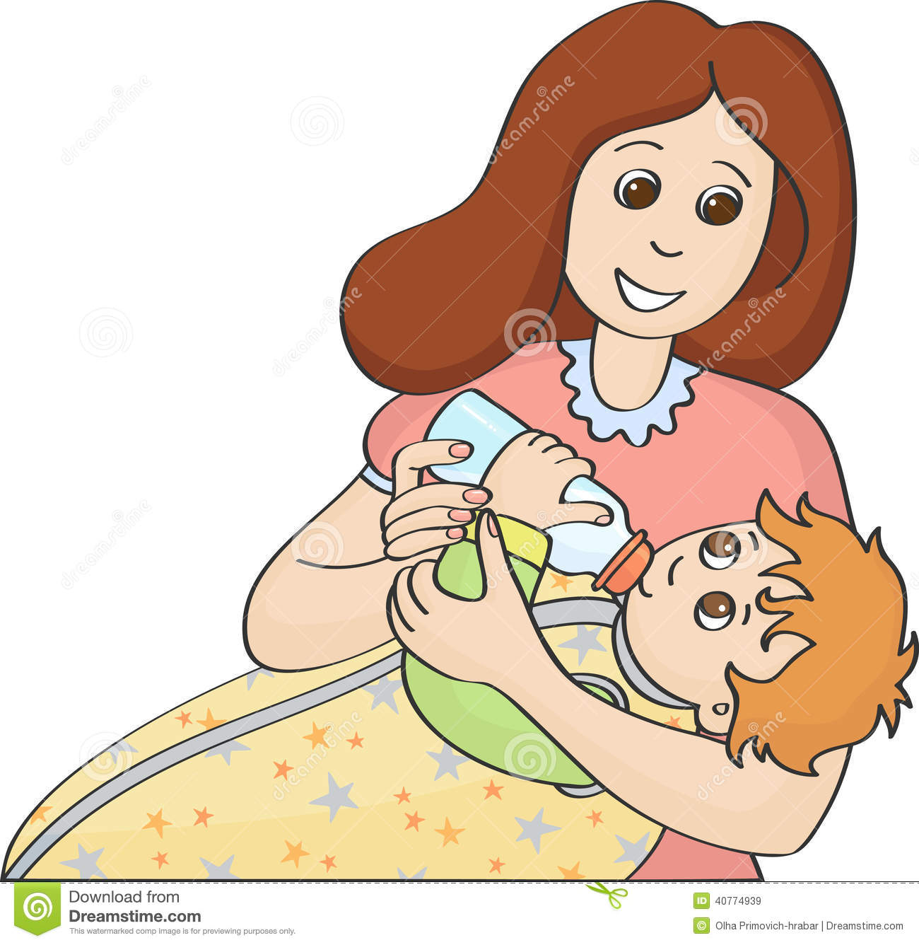 Mother Feeding Baby With Bottle Stock Vector   Image  40774939