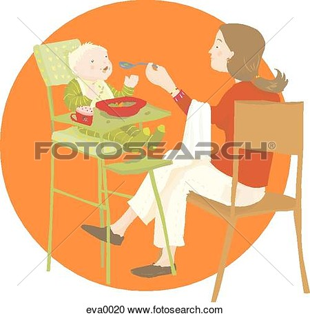 Stock Illustration   Mom Feeding Baby  Fotosearch   Search Clipart