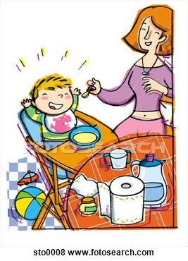 Stock Illustration   Mother Feeding Baby  Fotosearch   Search Eps Clip