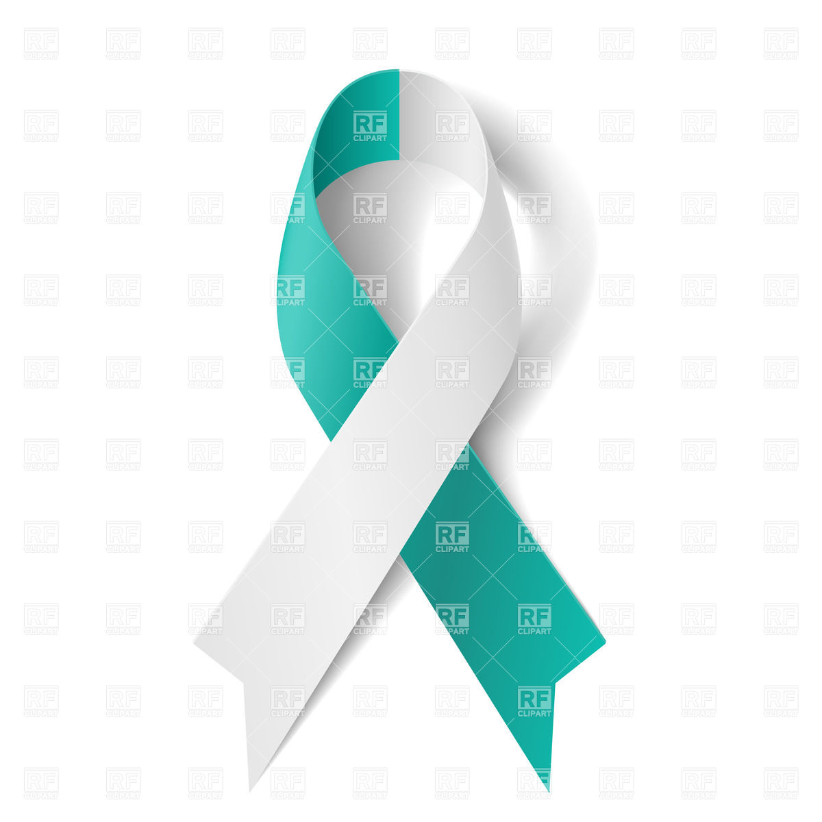 Teal And White Ribbon   Symbol Of Cervical Cancer Download Royalty