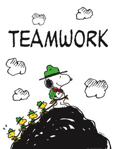 Teamwork Snoopy And Friends Peanuts Motivational Poster Print