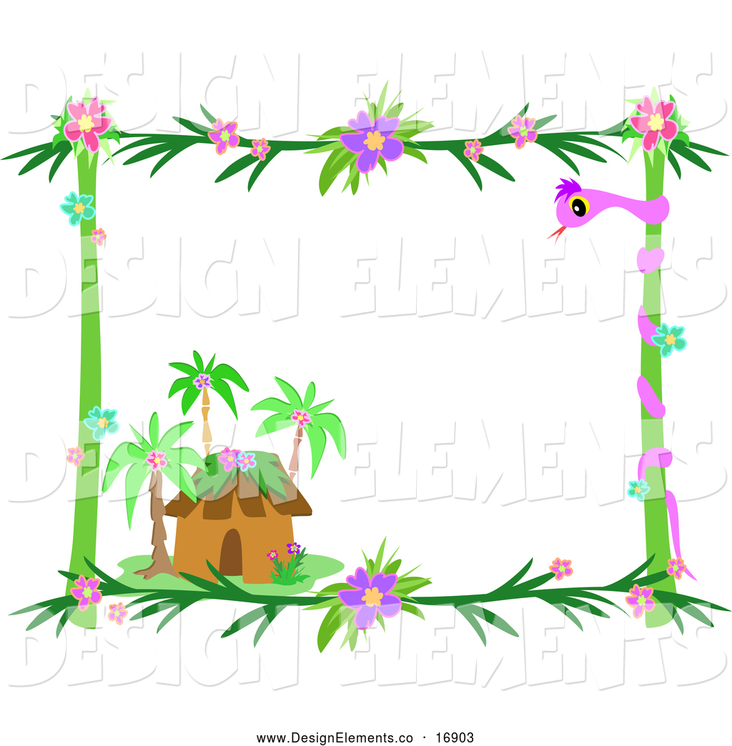 Vector Clip Art Of A Tropical Hut Frame By Bpearth    16903