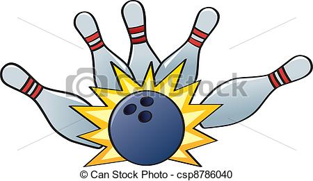 Vector Clipart Of Bowling Strike   A Bowling Ball Hitting The Pins For