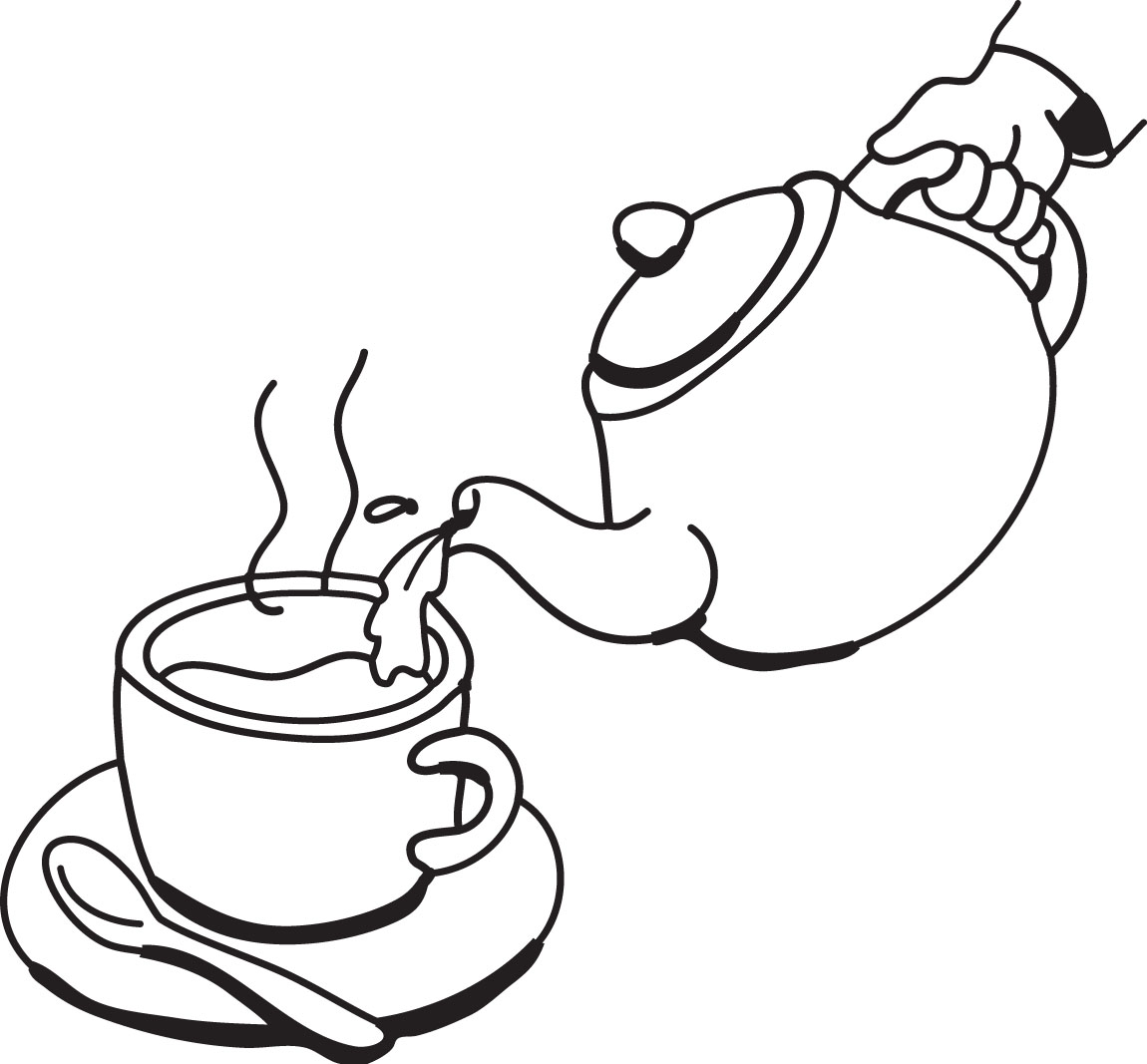 tea cup clipart black and white - photo #36