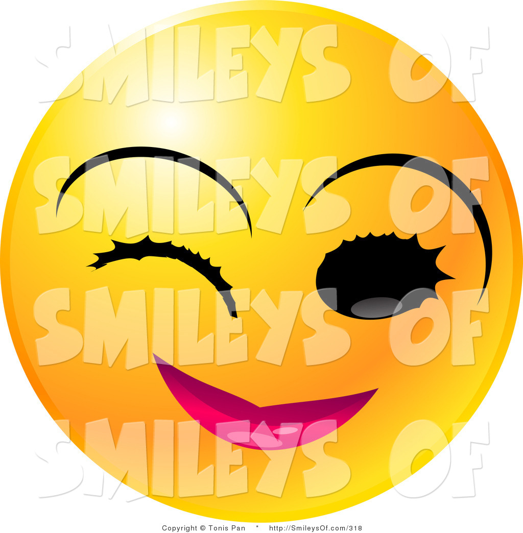 Winking Smiley Face Clip Art Vector Of A Winking Yellow Emoticon Face