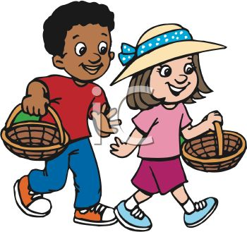 African American Boy And Caucasian Girl Going Easter Egg Hunting