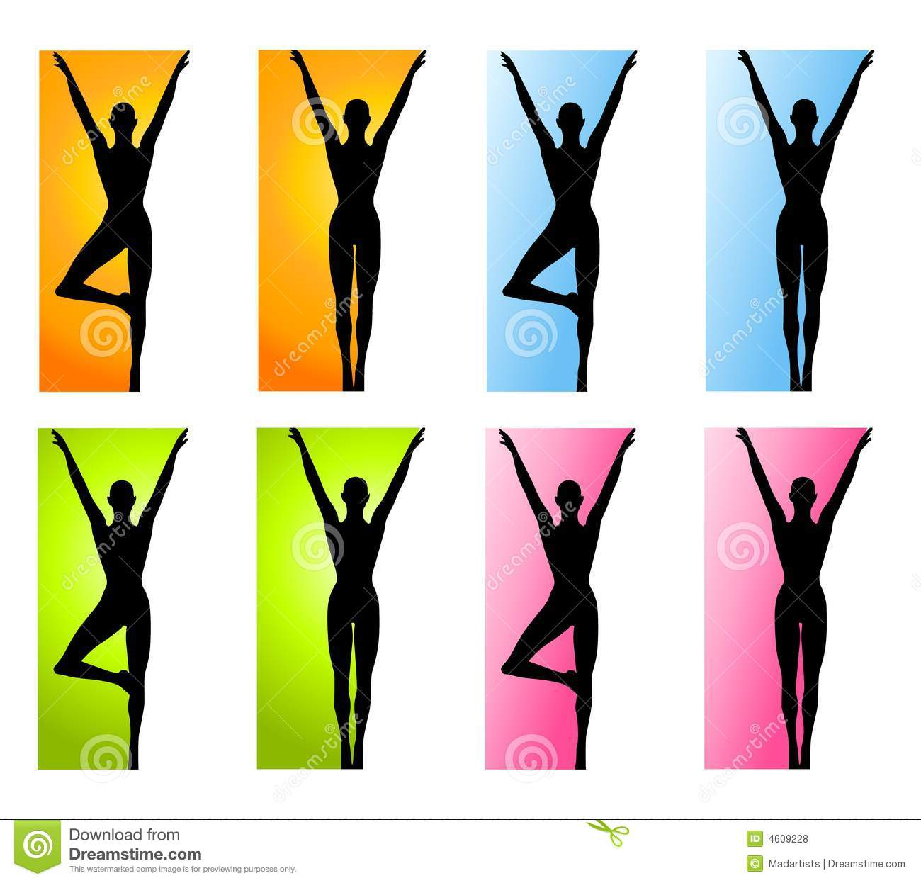 An Illustration Featuring 8 Different Fitness Yoga Dance Silhouettes