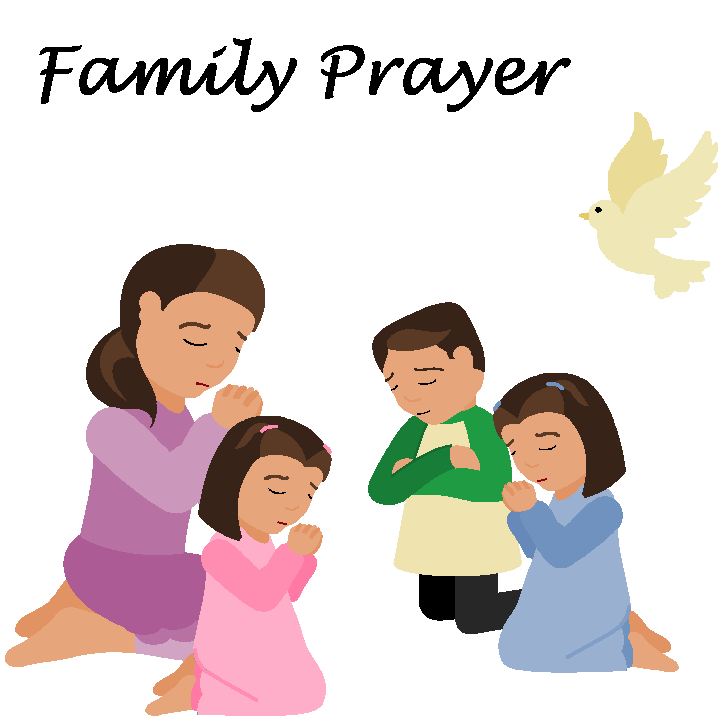 Children Praying In Church Clipart Or Family Prayer P189