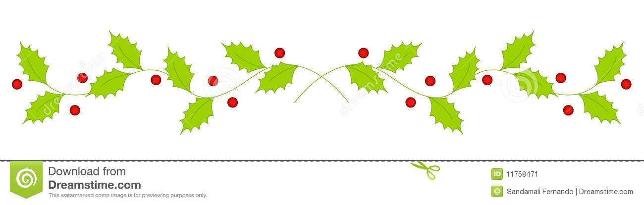 Christmas Holly Divider   Border Stock Image   Image  11758471