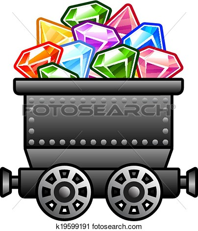 Clipart   Iron Mine Cart With Diamonds  Fotosearch   Search Clip Art