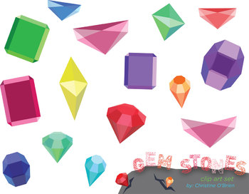 Geometric Gem Stone Clip Art Set   Teacherspayteachers Com
