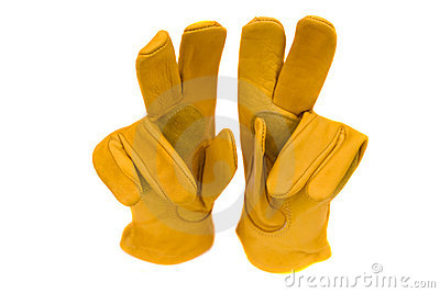 Gloves Work Heavy Duty Leather Carpenter Construction Isolated On A