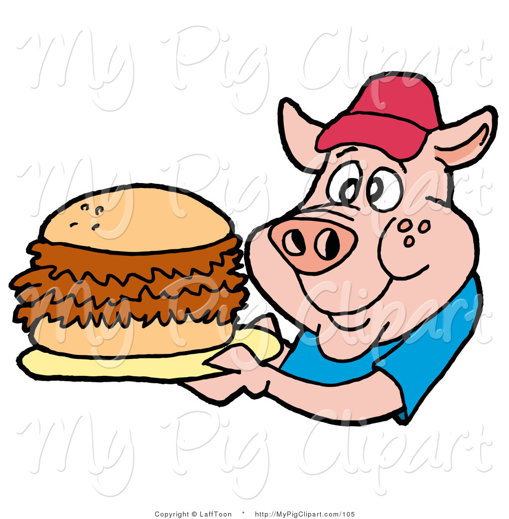 Larger Preview  Swine Clipart Of A Male Fast Food Pig In A Red Hat And