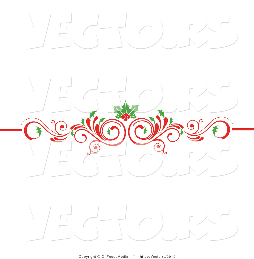 Larger Preview Vector Of Christmas Scrolled Red Flourish Vine With Vintage Border Vector