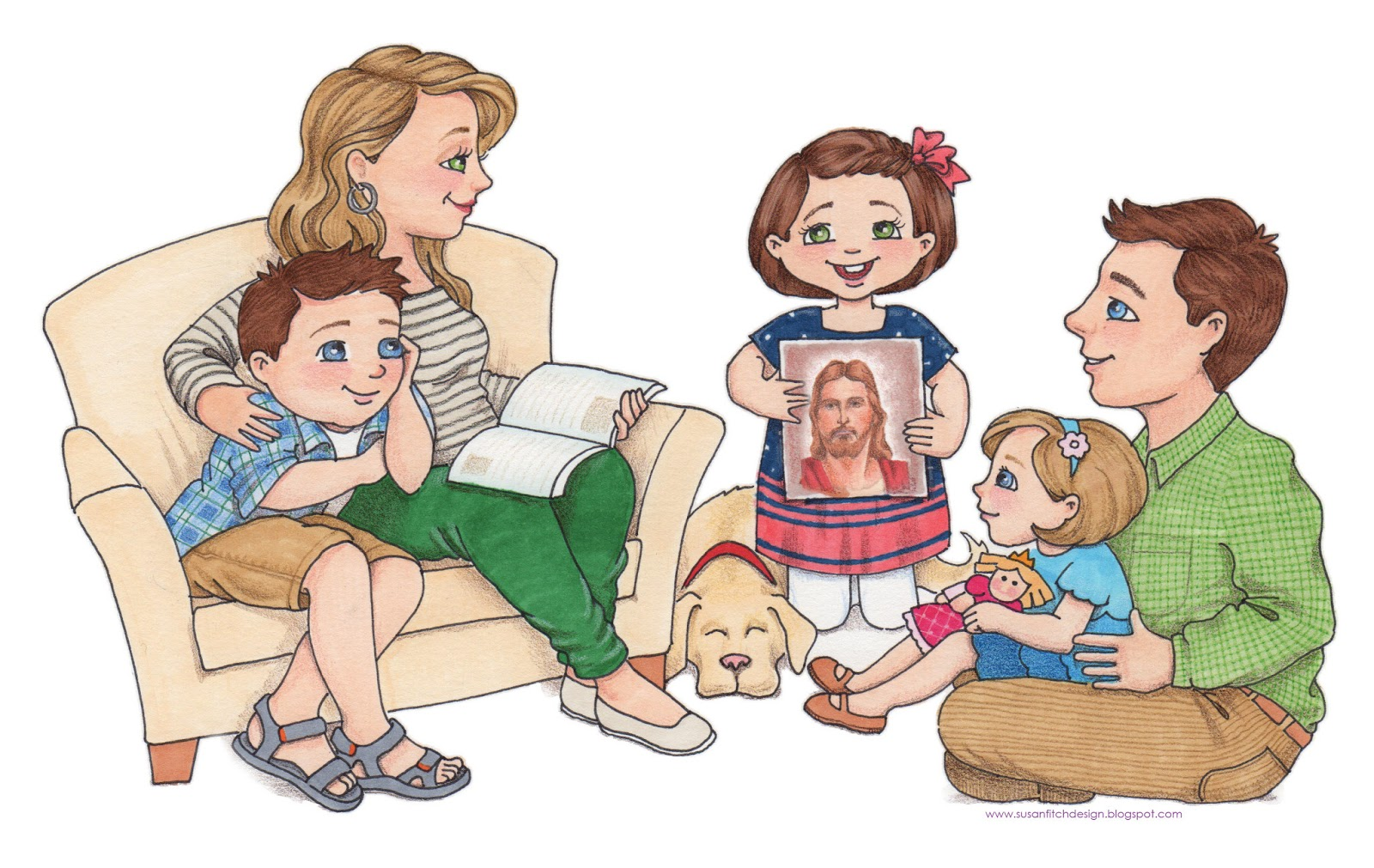 Lds Family Praying Clipart Family Home Evening