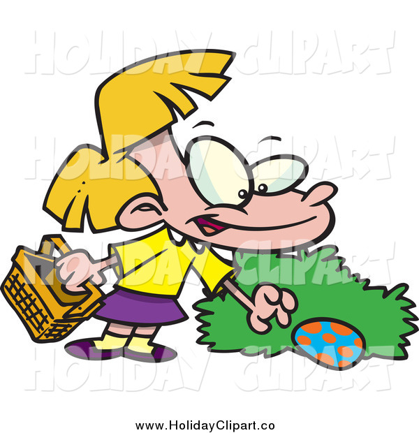 Of A Cartoon Blond Girl Hunting Easter Eggs By Ron Leishman    28162