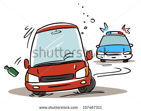 Police Chasing Drunk Driver  Cartoon Illustration   Stock Vector