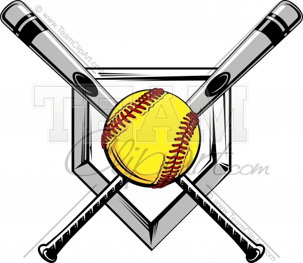 Softball Bats Crossed Clipart - Clipart Kid
