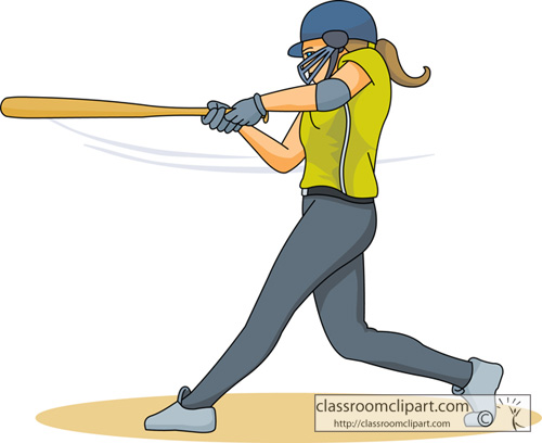 Softball Clipart   Girl Softball Player Swings Bat   Classroom Clipart