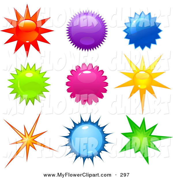Art Of A Collection Colorful Bright Stars And Bursts In Red Clipart