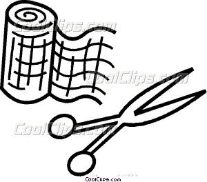 Bandages And Scissors Vector Clip Art