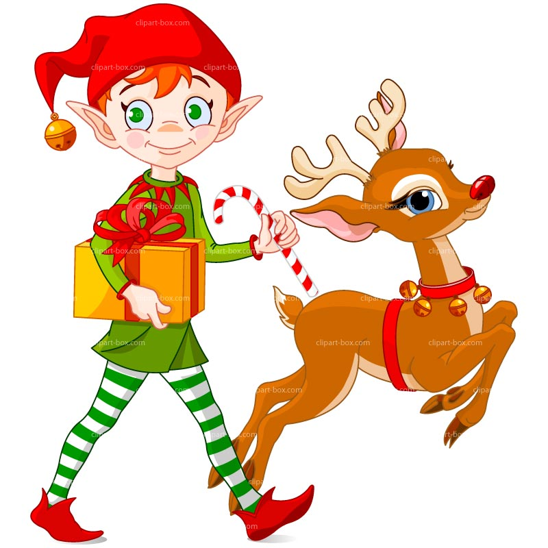 Clipart Christmas Elf With Deer   Royalty Free Vector Design