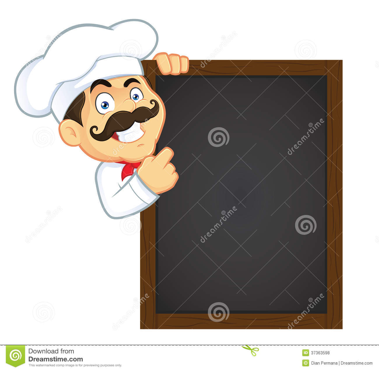 Clipart Picture Of A Chef Cartoon Character Holding Wooden Menu Board