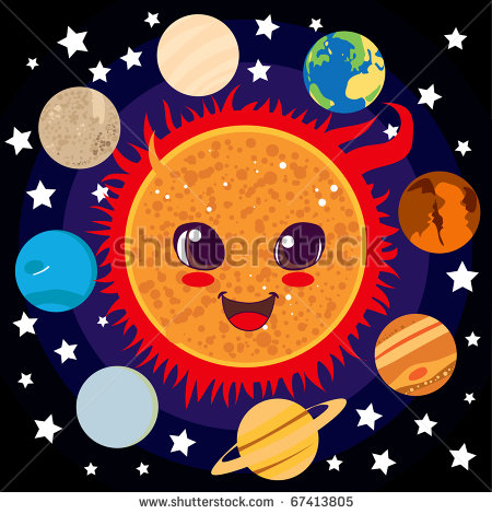Cute Happy Sun With Planet Friends Circling Him Stock Photo 67413805