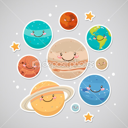Cute Planet  Sticker    Stock Vector   Nenochka  12362524