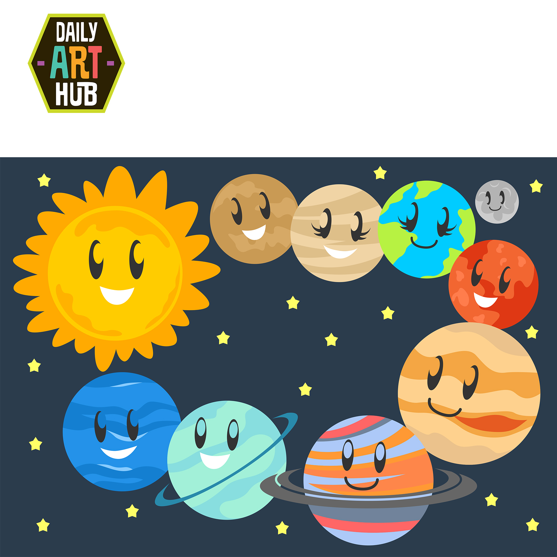 Cute Planets Clip Art Set   2 99 Cute Planets Clip Art Set Add To Cart