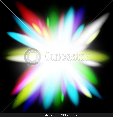 Flower Burst Stock Vector Clipart Abstract Glowing Rainbow Flower