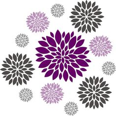 Flower Wall Decal Set Of 12 Decals By Homesweetwalls  34 Clipart