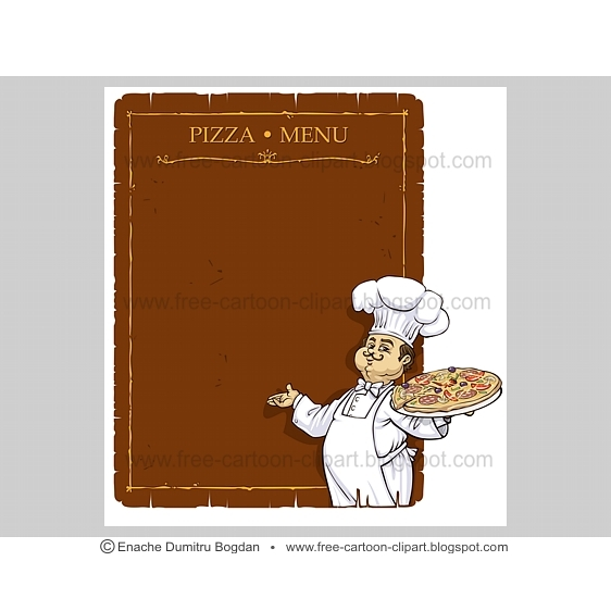 Free Cartoon Clipart 000061 Chef Pizza Restaurant Menu Page Enache