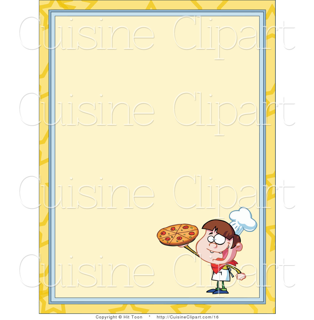 Pizza Boy Menu Border Menu Border With A Chef Holding A Cake Greek