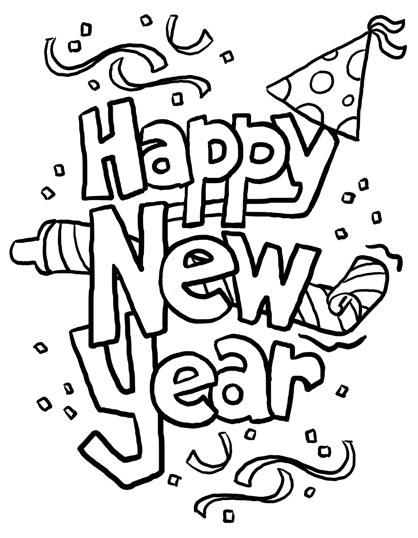 New year 2016 black and white clipart clipart suggest for Happy new year coloring pages 2016