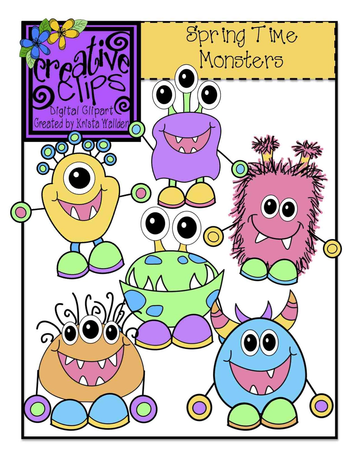 Spring Monsters  Creative Clips Digital Clipart