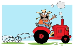 Tractor Clipart Image   Farmer On Tractor Plowing The Fields