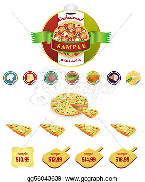 Vector Set Of Pizza Restaurant Menu Icons  Clipart Drawing Gg56043639