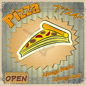 Vintage Grunge Card With Pizza Menu   Vector Clipart