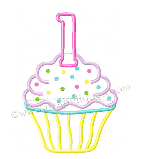 1st Birthday Cupcake Embroidery Applique Design   Cupcake With Number
