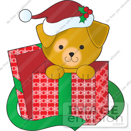 33515 Christmas Clipart Of A Cute Puppy Wearing A Santa Hat Peeking