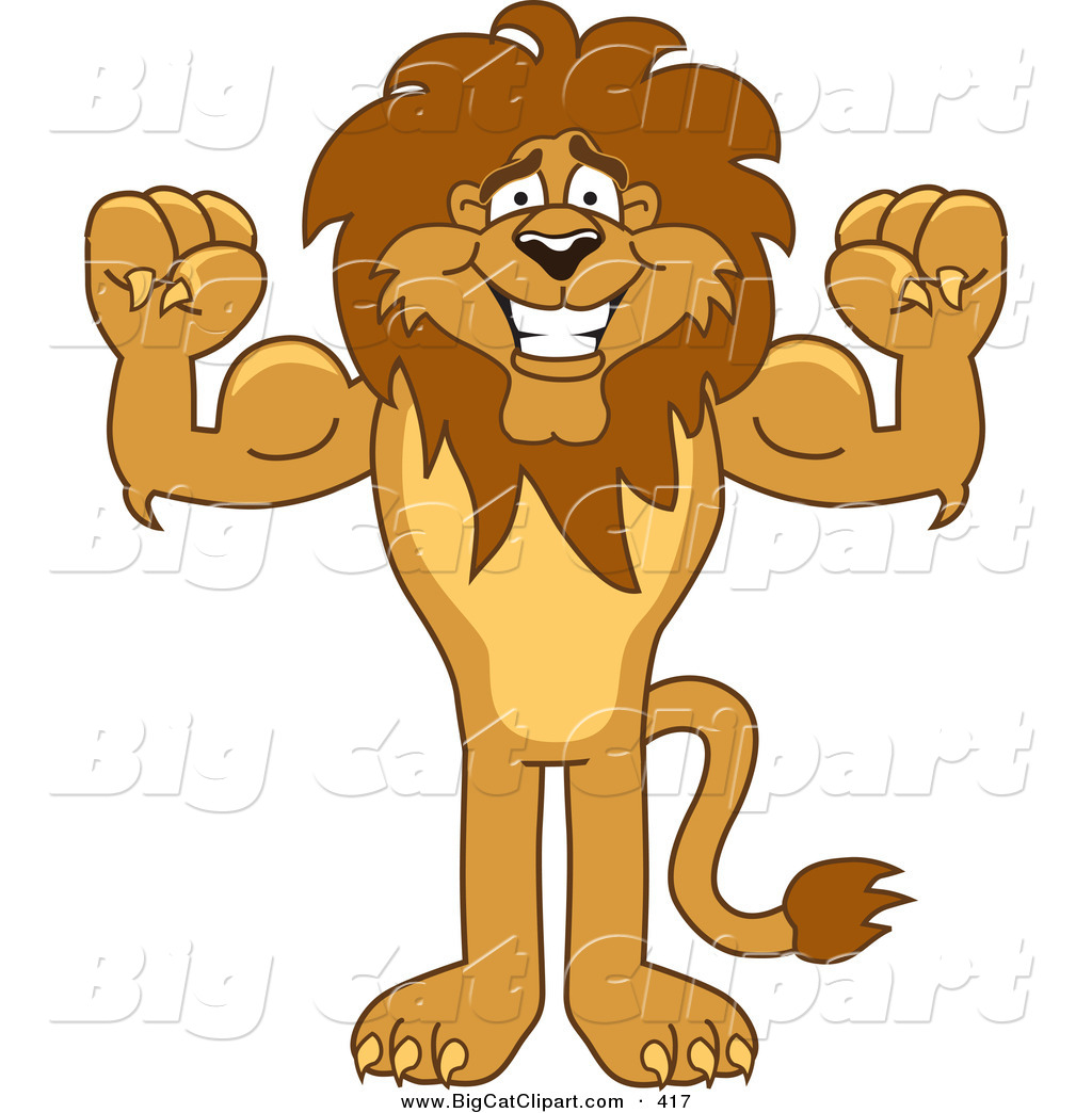Big Cat Cartoon Vector Clipart Of A Bodybuilder Lion Character Mascot