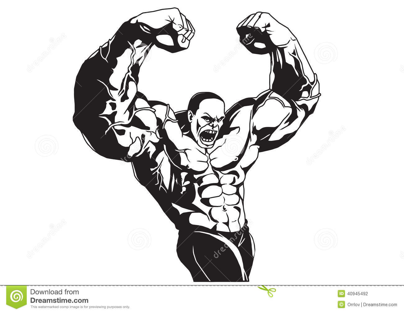 Bodybuilder Poses With His Hands Isolated On A White Illustration