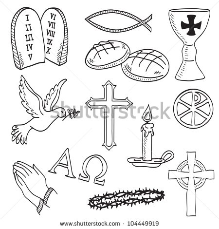 Christian Hand Drawn Symbols Illustration   Cross Hands Fish