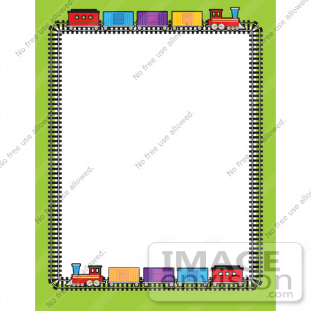 Clip Art Graphic Of A Train Stationery Border    42306 By Maria Bell