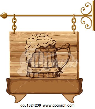 Illustration   Wooden Pub Sign  Eps Clipart Gg61624239   Gograph