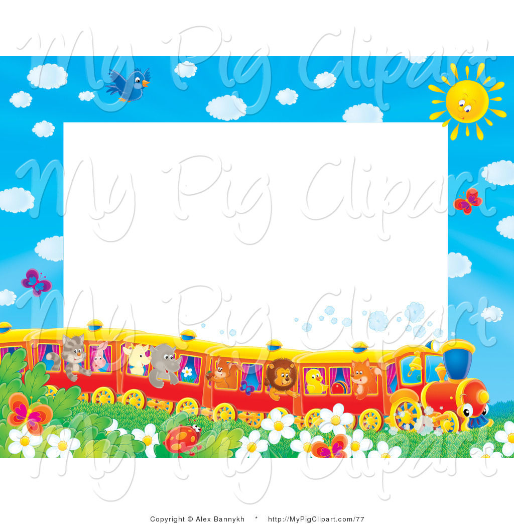 Larger Preview  Swine Clipart Of A Pretty Stationery Border Or Frame
