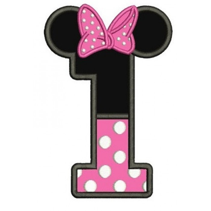 Number One First Birthday Girl Minnie Mouse Ears Applique Machine